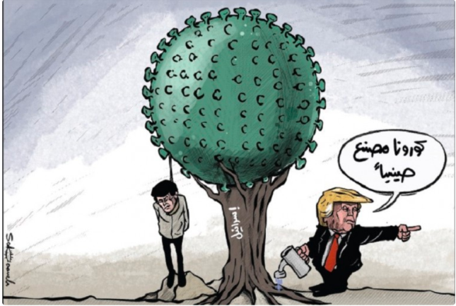 Israel is the tree the coronavirus grows on and Trump waters it while claiming China is the source of the disease (al-Hayat al-Jadeeda, the organ of the PA, May 4, 2020).