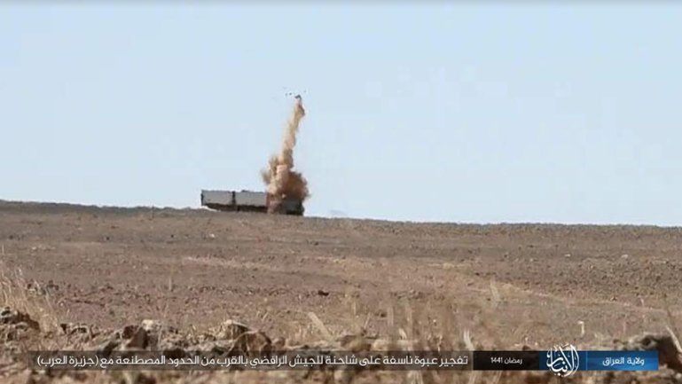 Activation of an IED by ISIS against an Iraqi army truck near the border between Iraq and Saudi Arabia (Telegram, May 5, 2020)