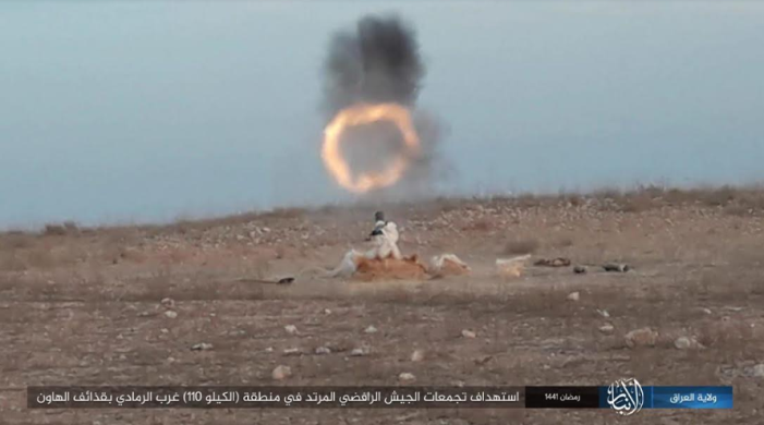 Mortar shells being fired at Iraqi army forces west of Ramadi (Telegram, May 2, 2020)