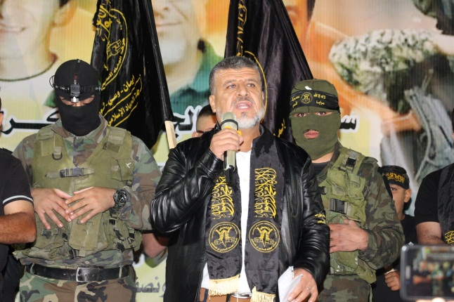 Jumaa al-Thaya gives a speech at the rally (Facebook page of the al-Amir studio in Kafr Ni'ma, May 8, 2020).