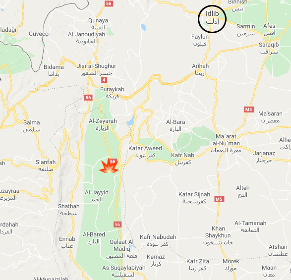 The area in the northern Al-Ghab Plain attacked by jihadi organizations (marked with an icon of an explosion) (Google Maps)