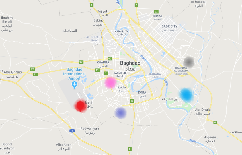 The Shiite areas where IEDs were detonated in Baghdad: Al-Amin neighborhood (marked in pink), Al-Amel neighborhood (marked in black), Al-Za'afraniyah (marked in blue), Abu Dashir neighborhood (marked in red), and the Al-Ma'alef area (marked in purple).