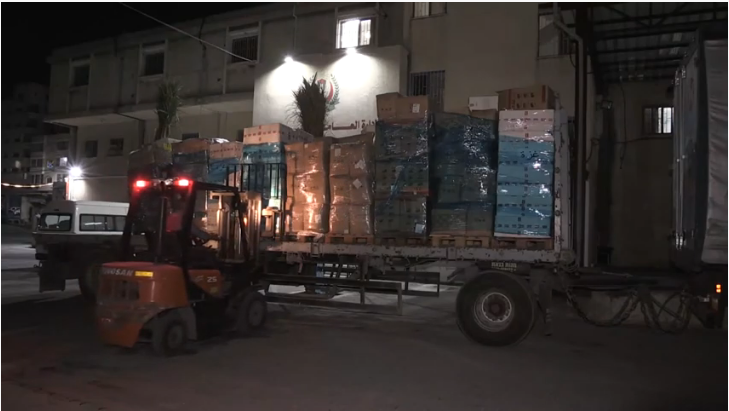 Aid for the Gaza Strip arriving from Turkey (al-Andalou News YouTube channel, May 14, 2020).