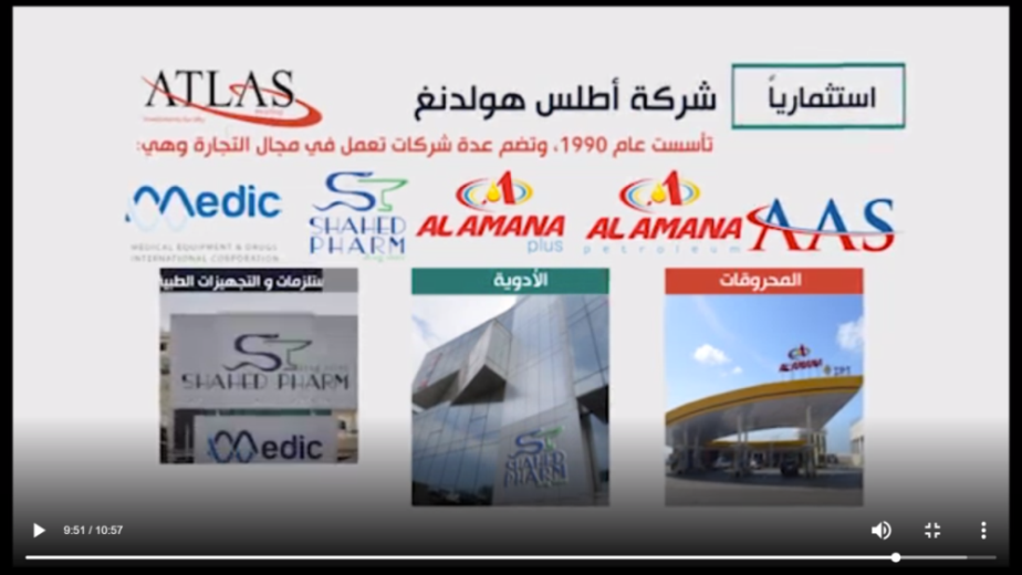 Several companies owned by Atlas Holding (source: video posted on the Martyrs Foundation's website)