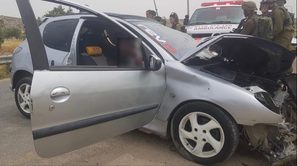 The car used in the attack (QudsN Facebook page, May 14, 2020).