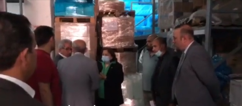 The Palestinian minister of health at the reception held for the delivery of medical equipment from Saudi Arabia (Facebook page of the PA ministry of health, May 20, 2020)