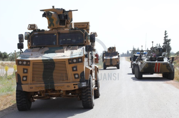 Armored vehicles of the Turkish army and the Russian Military Police during the joint patrol on the M-4 highway (Anatolia, May 20, 2020)