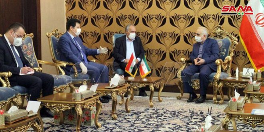 The meeting between the Iranian minister of the economy and the Syrian ambassador to Tehran (SANA, April 14, 2020)