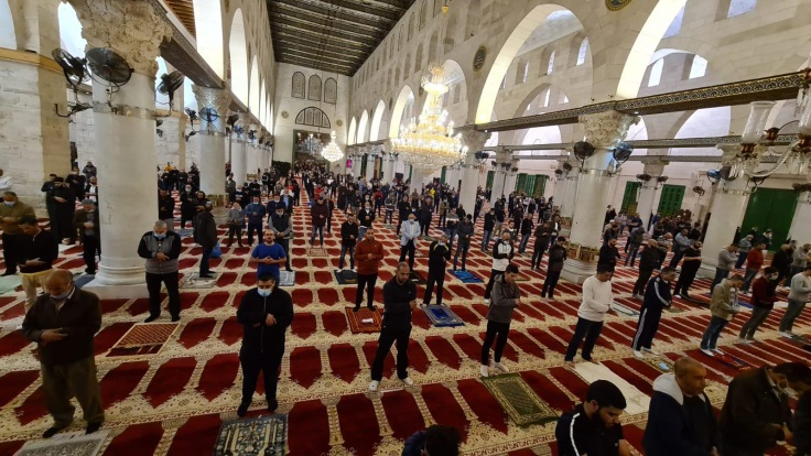 Muslim worshippers reenter the Temple Mount for the first time (Wafa, May 31, 2020).