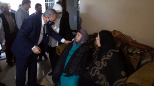 PA Prime Minister Muhammad Shtayyeh and Laila Ghannam, governor of the Ramallah district, pay a condolence call to the family of Fadi Qad (Wafa, May 30, 2020).