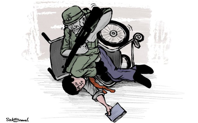 Cartoons equating the death of George Floyd in the United States with the activities of IDF soldiers (Right: al-Hayat al-Jadeeda, June 1, 2020; Left: Twitter account of Muhammad Sabaani, May 30, 2020).