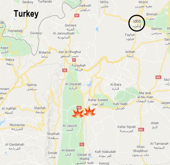 The fighting zone in the Al-Ghab Plain (Google Maps)