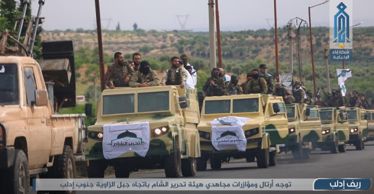 A convoy of the Headquarters for the Liberation of Al-Sham en route to Jabal Zawiya, south of Idlib (Ibaa, June 8, 2020)