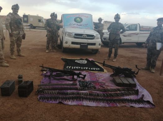 Weapons, ammunition and military equipment seized by the Iraqi army.
