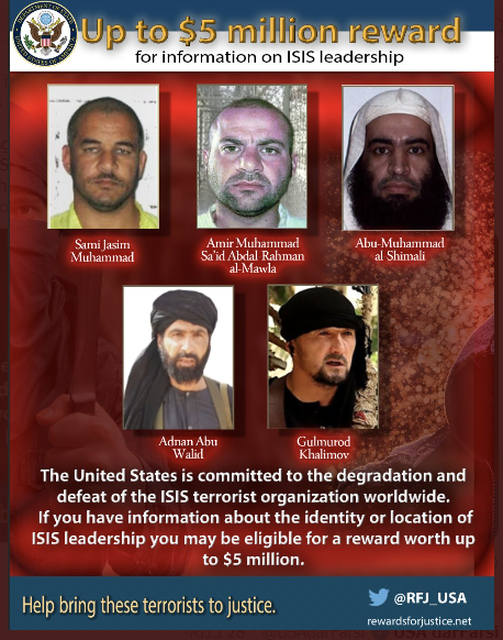 ISIS commander (top center) and four other senior ISIS officials. A reward has been offered to anyone providing information about them (Rewards for Justice@RFJ_USA Twitter account, June 4, 2020)