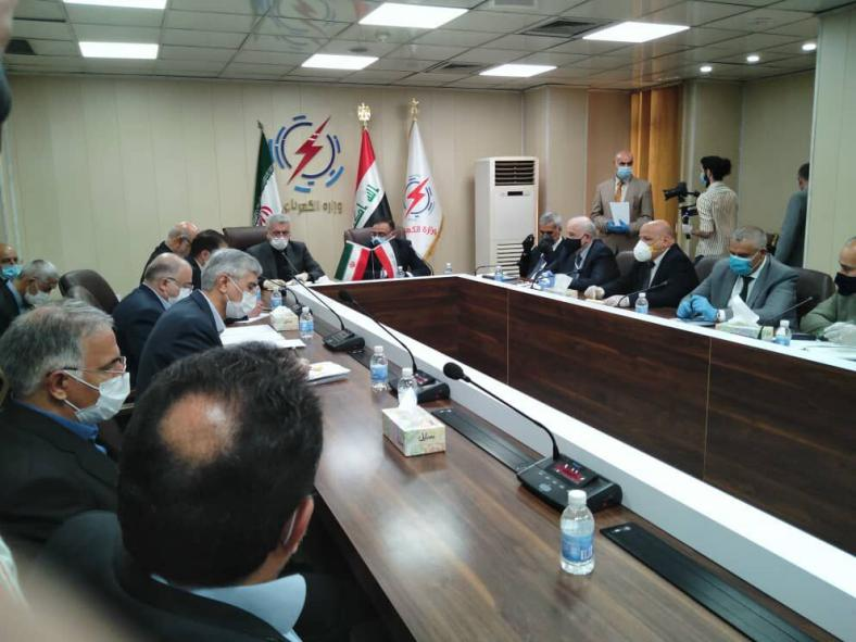 The meeting between the Iranian minister of energy with the Iraqi minister of electricity (IRNA, June 3, 2020)