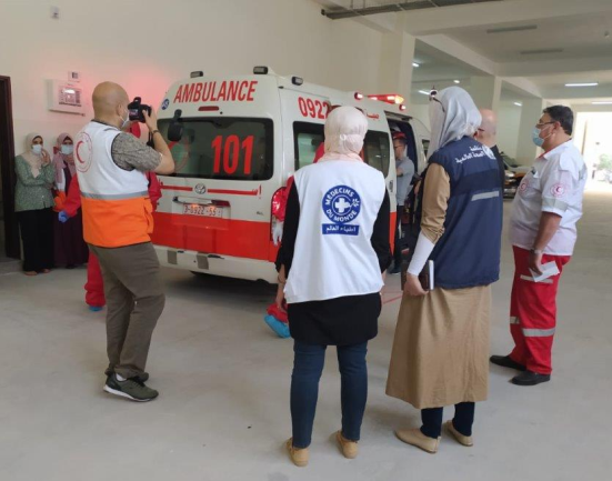 The Red Crescent simulation drill (Facebook page of the W.H.O. regional office, June 16, 2020).
