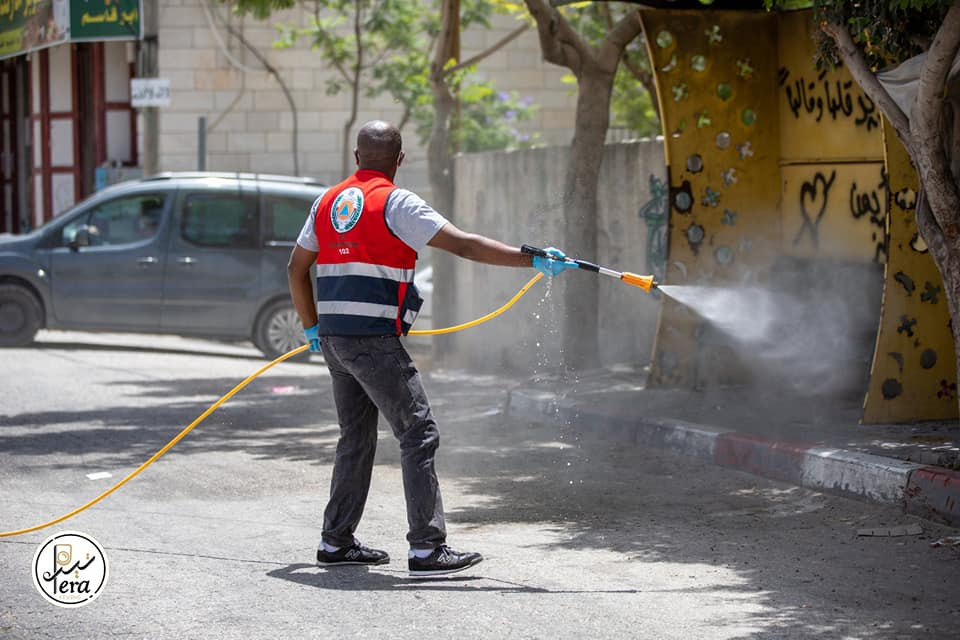 Disinfecting the village of Taffuh, an epicenter of COVID-19 infection in the Hebron district (Facebook page of journalist Samer al-Sharawi, June 22, 2020).