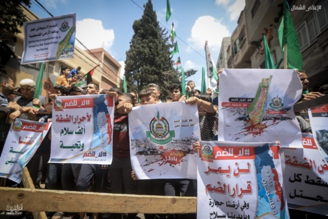 Protest march in the Jabalia refugee camp (Palestine Online Twitter account, June 19, 2020).
