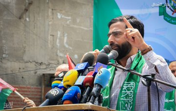 Musheir al-Masri speaking in the Jabalia refugee camp (Palestine Online Twitter account, June 19, 2020).