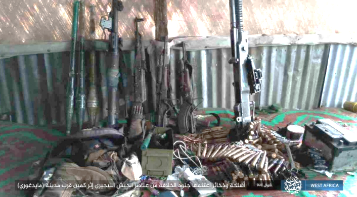 Nigerian army weapons and ammunition seized by ISIS in the ambush.