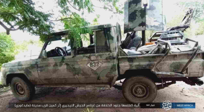 Nigerian army vehicle seized by ISIS operatives (Isdarat, June 20, 2020).