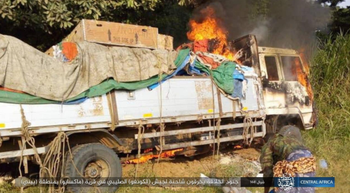 Truck used by the Congolese army going up in flames after being targeted by ISIS machine gun fire (Isdarat, June 21, 2020)