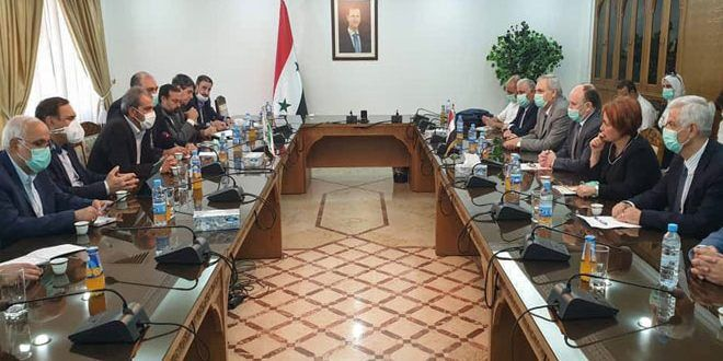 The meeting between the Iranian economic delegation and the Syrian Minister of Science (IRNA, June 17, 2020)
