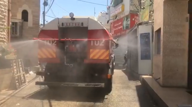 Disinfecting the Dheisheh refugee camp in Bethlehem