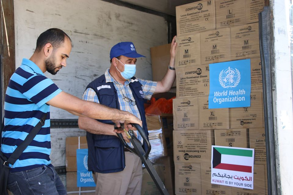 Drugs and equipment paid for by Kuwait and distributed to Gaza by the W.H.O. (Facebook page of the regional W.H.O. office, June 25, 2020).