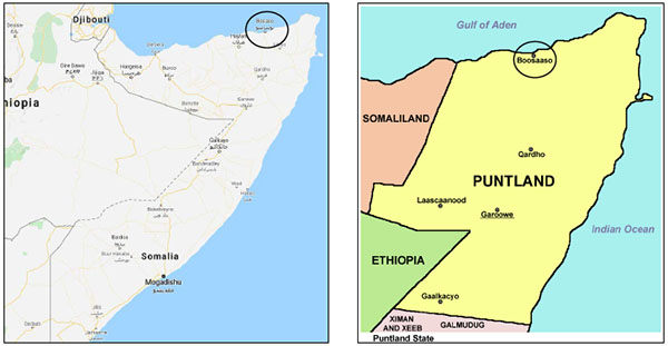Right: Bosaso, which is located in the northern part of the state of Puntland in Somalia (Wikimedia). Left: Bosaso in northern Somalia (Google Maps).