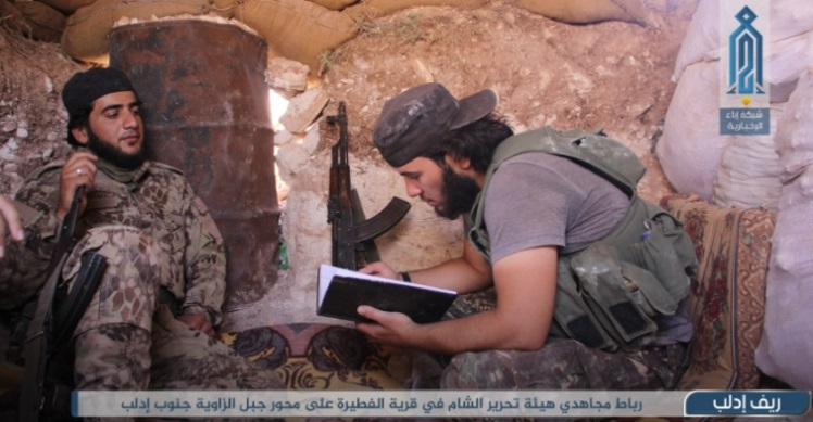 Operatives of the Headquarters for the Liberation of Al-Sham in a trench and a position in Jabal Zawiya (Ibaa, June 30, 2020)