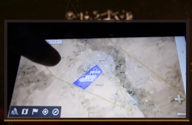 ISIS operative displaying a map of the Al-Shadadi camp which, according to him, is used by the Americans and the SDF. He notes that ISIS will soon fire rockets at the camp (Isdarat, June 28, 2020).