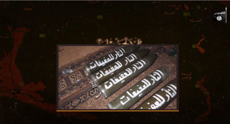 """Rockets ready for launching at the Al-Shadadi camp. The inscription on the rockets reads, """"Revenge of the Pious Wives,"""" i.e., wives of ISIS operatives held in the Al-Hol camp in northeastern Syria (Isdarat, June 28, 2020)"""