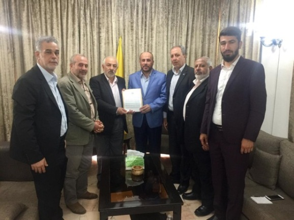 Ahmed Abd al-Hadi, Hamas representative in Lebanon, meets with Hassan Haballah, who holds the Palestine portfolio in Hezbollah (Hamas website, July 6, 2020).