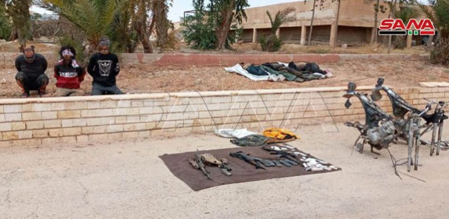 Right: ISIS operatives who were killed and captured. Left: Seized weapons, ammunition, and military equipment (SANA, July 7, 2020).
