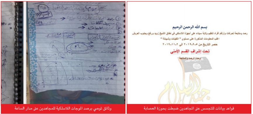 """Proof"" published by ISIS indicating that Jund al-Islam is collecting information about its operatives. Right: Jund al-Islam's order to its operatives to monitor the wireless network of the operatives of ISIS's Sinai Province in the area of Sheikh Zuweid and Rafah. Left: Documents which, according to ISIS, prove that the wireless network of the operatives of ISIS's Sinai Province is being monitored by Jund al-Islam operatives (Al-Naba', as published on Telegram, July 2, 2020)"
