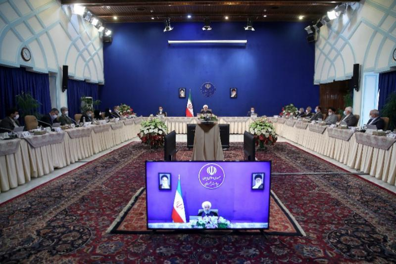 President Rouhani giving a speech during the teleconferenced summit with the Russian and Turkish presidents (the website of the president, July 1, 2020).