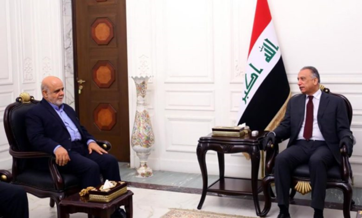 The meeting between the Iraqi prime minister with the Iranian Ambassador to Baghdad, Iraj Masjedi (Tasnim, May 9, 2020).