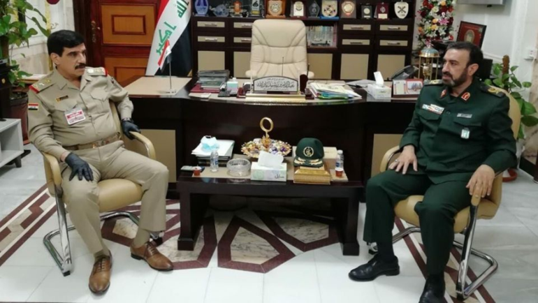 The meeting between the Iraqi chief of staff with the Iranian military attache to Baghdad (IRNA, June 23, 2020).