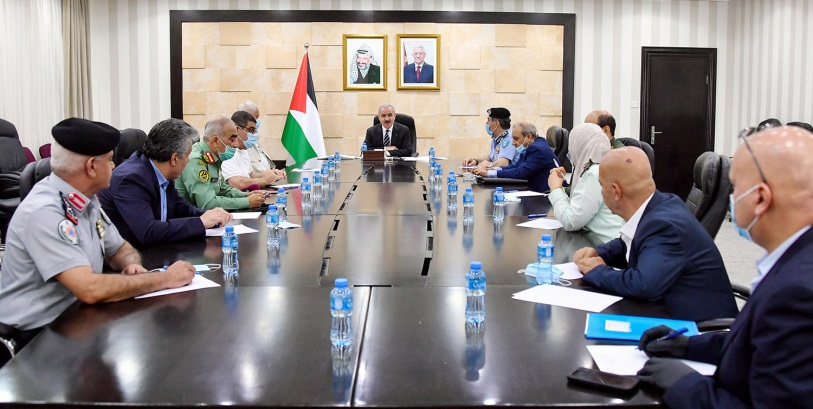 Muhammad Shtayyeh holds a security briefing for the heads of the Palestinian security apparatuses (Wafa, July 7, 2020).
