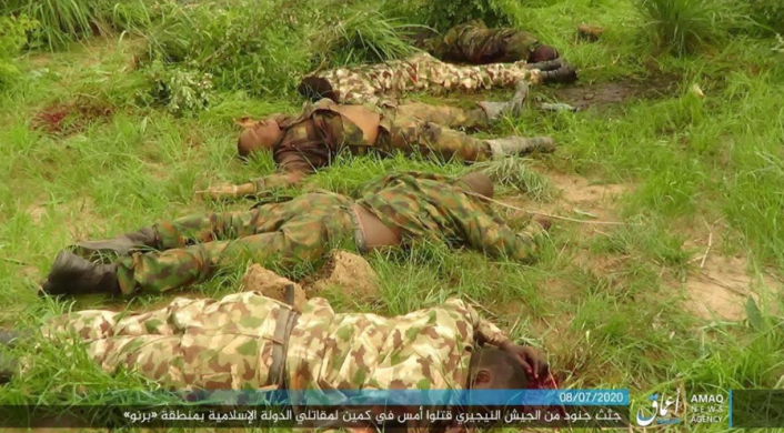 Bodies of Nigerian soldiers killed in the ambush (Telegram, July 8, 2020)