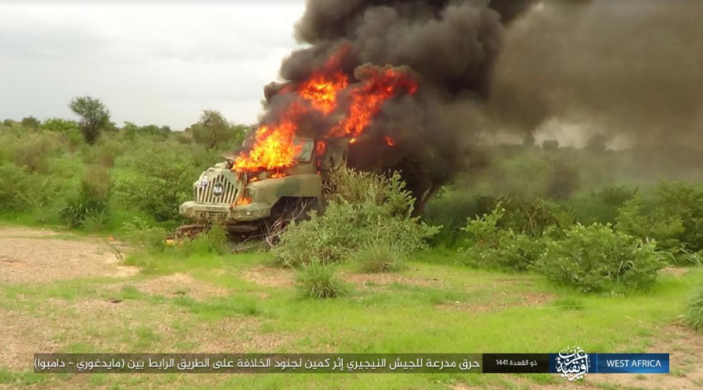 Nigerian army vehicle going up in flames (Telegram, July 8, 2020)