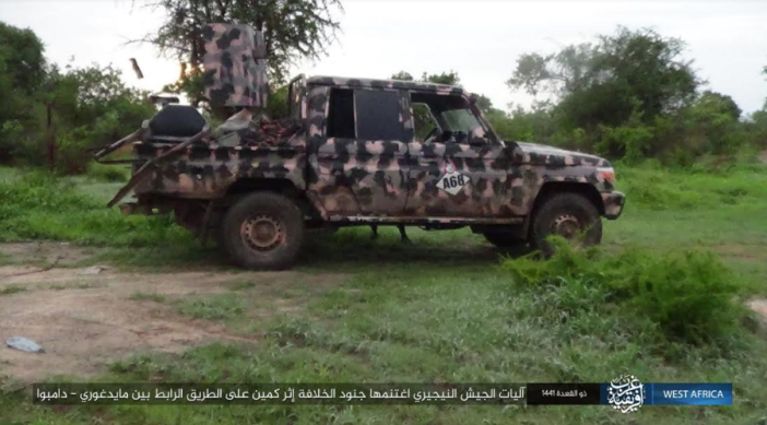 One of the Nigerian army vehicles seized in the ambush (Telegram, July 8, 2020).