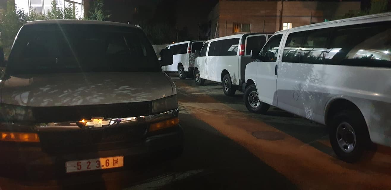 The vehicles donated to the Taffuh local municipality (Facebook page of Samer al-Sharawi, July 15, 2020).
