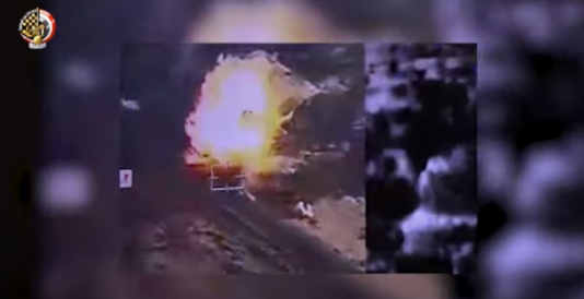 One of the car bombs exploding in the Egyptian airstrike on the area of Bir El-Abed, west of Al-Arish (Al-Youm al-Sabea, July 21, 2020).