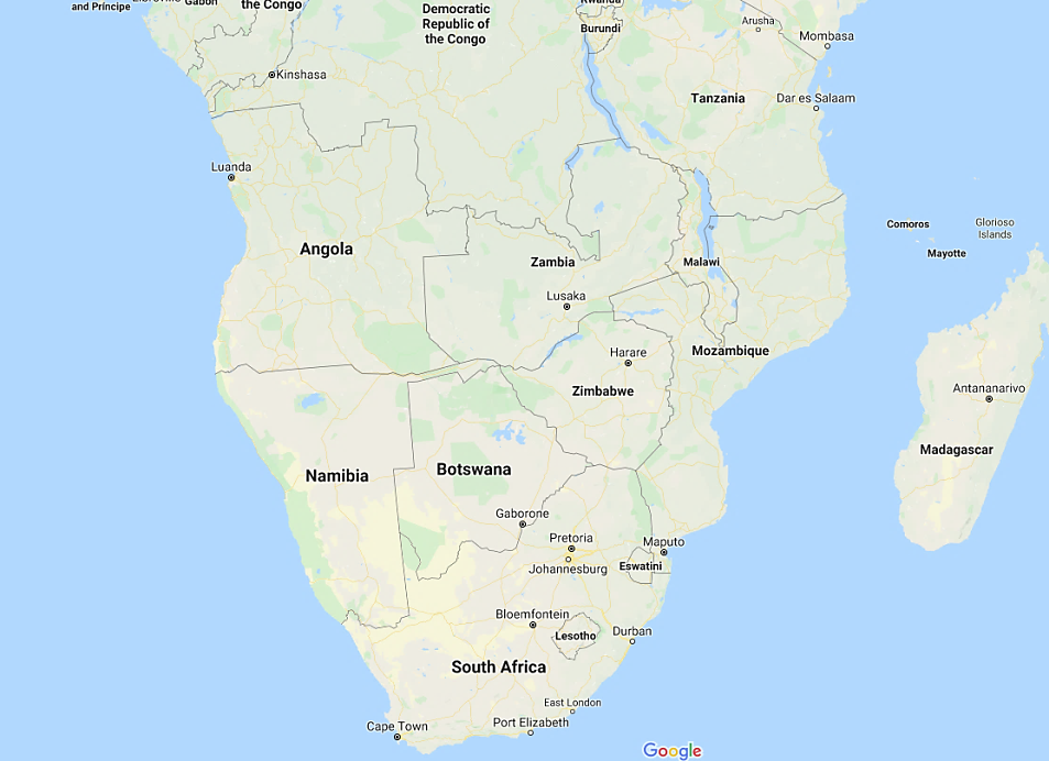 Map of Mozambique, South Africa and the neighboring countries (Google Maps)