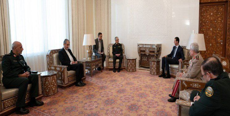 The meeting between the Iranian chief of staff of the armed forces and the Syrian President Assad (Fars, July 10, 2020).