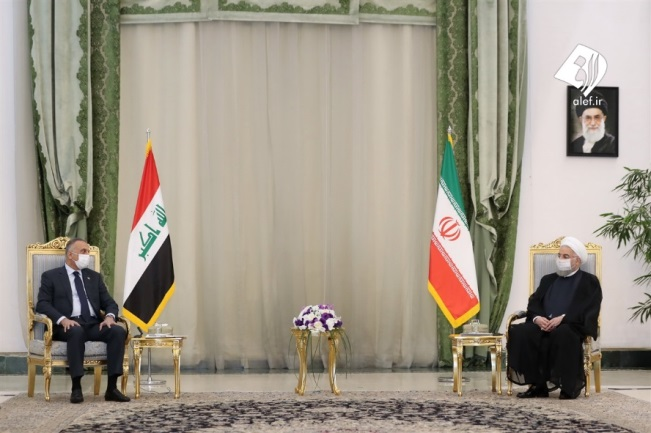 The meeting of the Iraqi prime minister with the Iranian president (Fars, July 21, 2020).