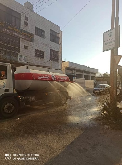 PA security services disinfect the village of Balata (Facebook page of the Nablus district governor, July 22, 2020).